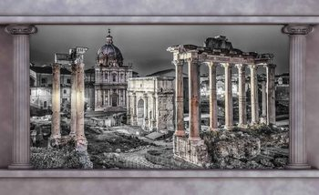 Rome City Ruins Window View Poster Mural