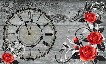 Roses Clock Wood Planks Vintage Poster Mural