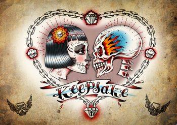 Tatouage au coeur du crâne Poster Mural
