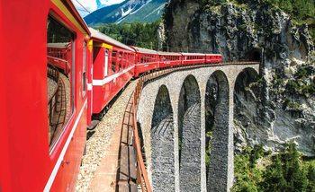 Train à travers les montagnes Poster Mural