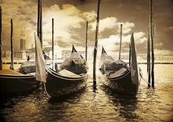 Ville Venice Gondolas Boats Sepia Poster Mural