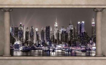 Vue de la fenêtre Skyline de New York City Poster Mural