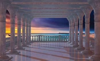 Vue sur la mer à travers les arches Poster Mural