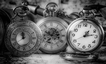 Watches Clocks Black White Poster Mural
