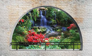 Waterfall Lake Arch View Poster Mural