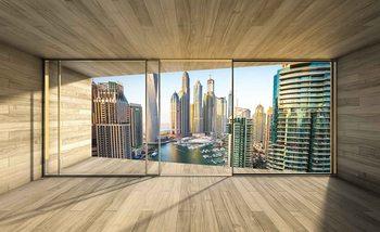 Window Dubai City Skyline Marina Poster Mural