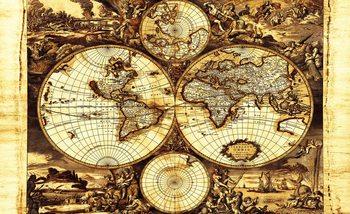 World Map Vintage Poster Mural