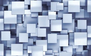 Abstract Squares Modern Blue Wallpaper Mural