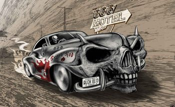 Alchemy Death Hot Rod Car Skull Wallpaper Mural