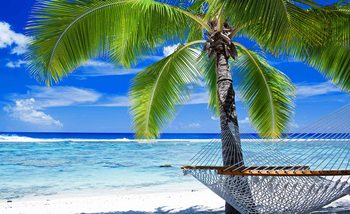 Beach Sea Sand Palms Hammock Wallpaper Mural