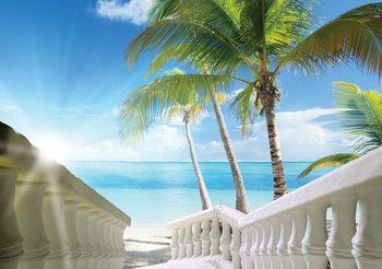Beach Tropical Sea Palms Wallpaper Mural