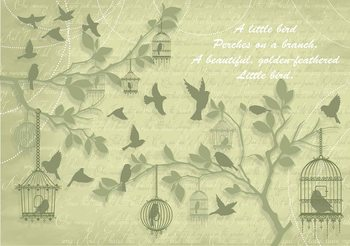 Birds Trees Green Wallpaper Mural