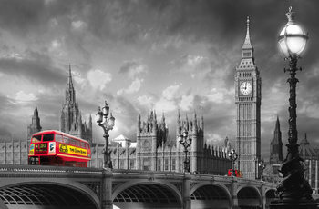 BUS ON WESTMINSTER BRIDGE Wall Mural
