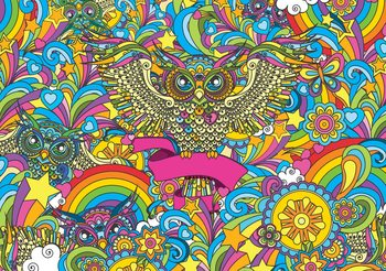 Colorful Owls Stars Rainbow Flowers Wallpaper Mural