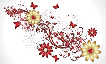 Flowers Butterflies Pattern Red Wallpaper Mural
