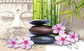 Flowers With Zen Stones Wallpaper Mural