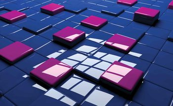 Modern Abstract Squares Blue Purple Wallpaper Mural