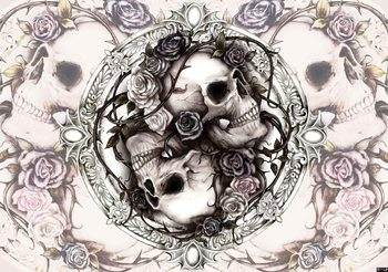 Skull Alchemy Roses Wallpaper Mural