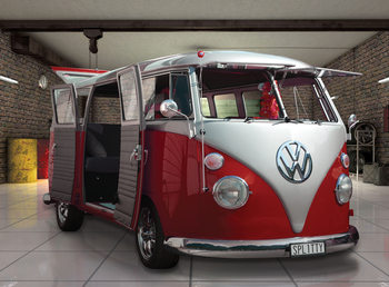 Volkswagen - Red camper van Wallpaper Mural