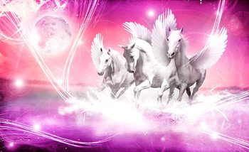Winged Horse Pegasus Pink Wallpaper Mural
