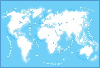 World Map for Kids Wallpaper Mural