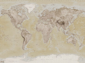 World Map - Neutral Wallpaper Mural
