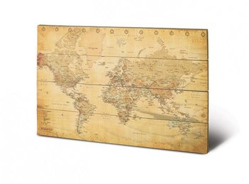 World Map - Vintage Style Wooden Art