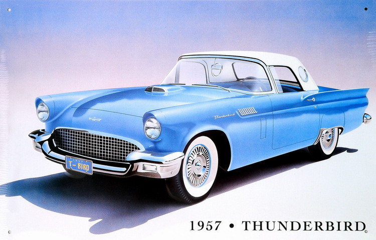 1957 THUNDERBIRD Plaque métal décorée