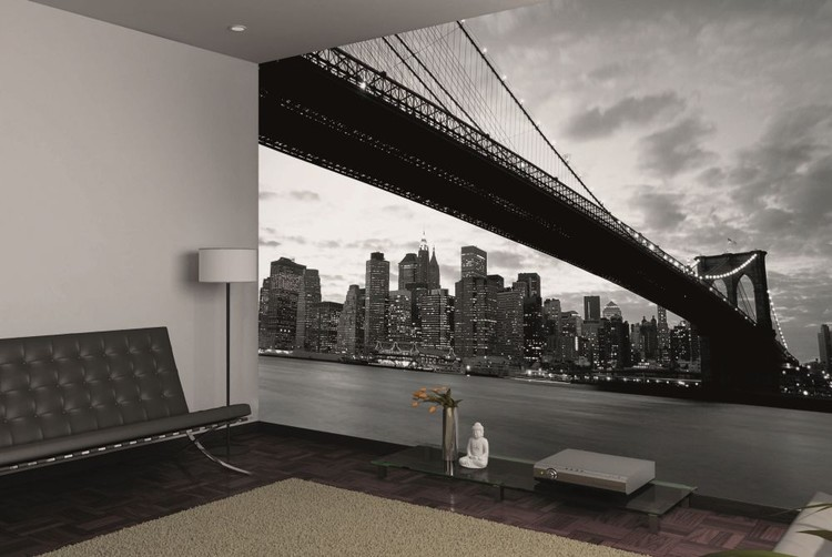 Brooklyn bridge new york wall mural buy at europosters for Brooklyn bridge wallpaper mural
