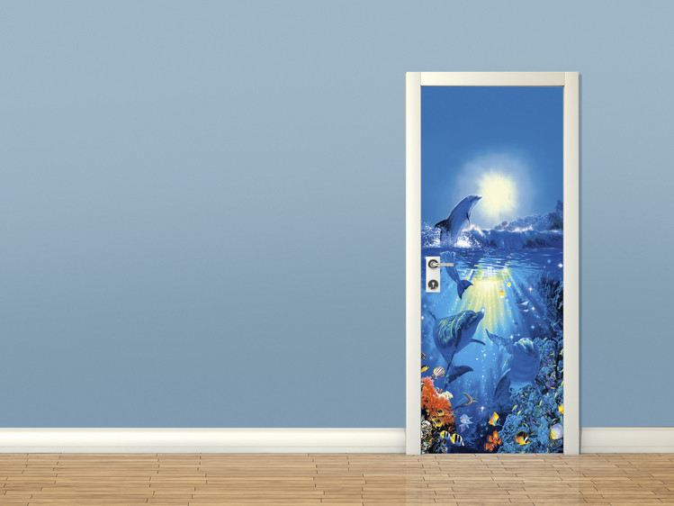 Dolphin in the sun christian riese wall mural buy at for Christian mural