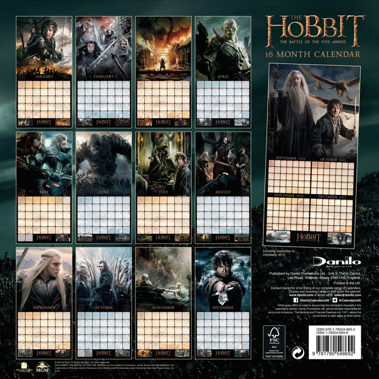 The Hobbit - Calendars 2018 on EuroPosters