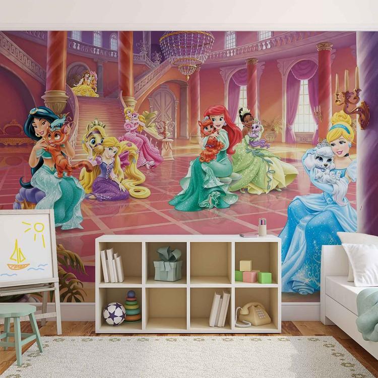 Disney princesses cinderella jasmine wall paper mural for Cinderella wall mural