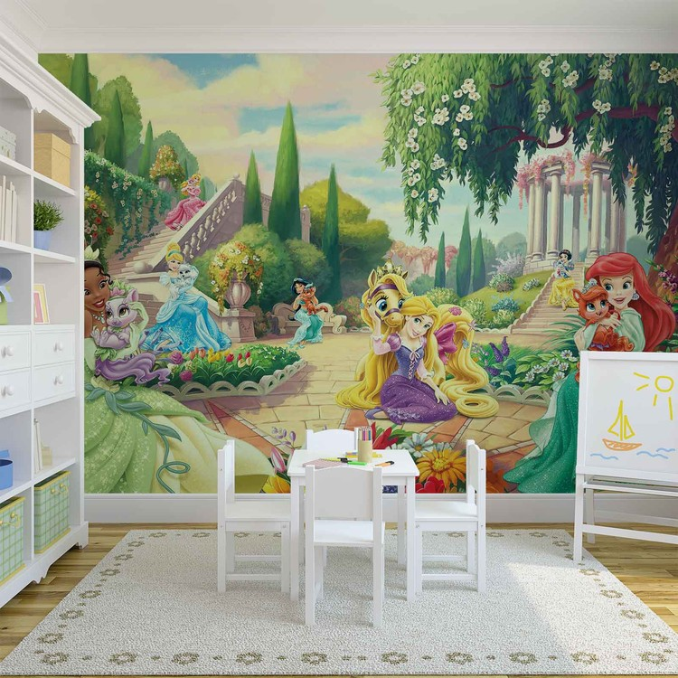 Disney princesses tiana ariel aurora wall paper mural for Disney ariel wall mural