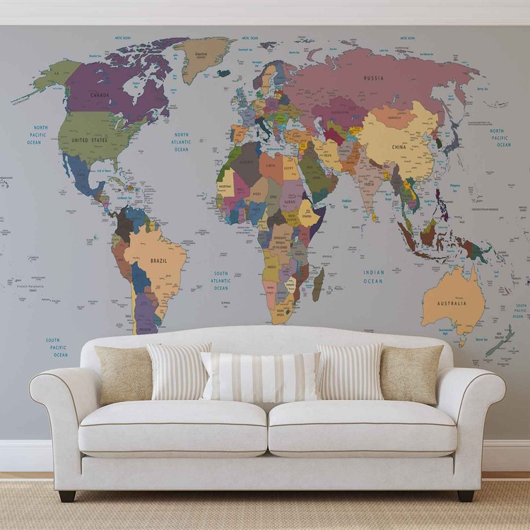 World map wall paper mural buy at europosters world map wallpaper mural facebook google pinterest price from gumiabroncs Gallery