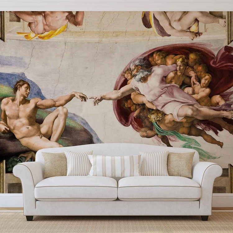 Creation adam art michelangelo wall paper mural buy at for Creation of adam mural