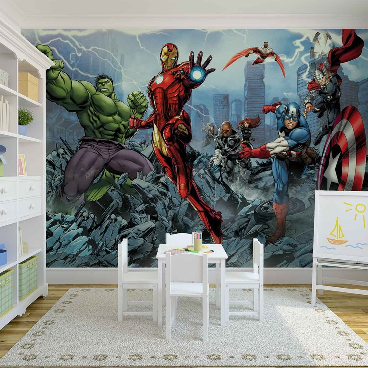 Marvel avengers wall paper mural buy at europosters for Avengers wallpaper mural