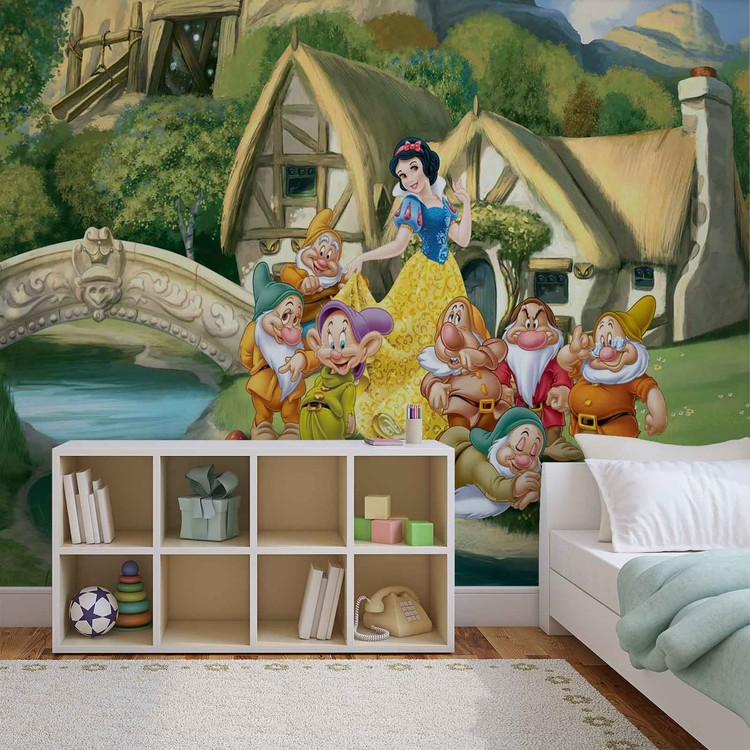 Disney princesses snow white wall paper mural buy at for Disney princess wall mural tesco