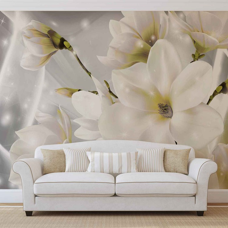 white flowers wall paper mural buy at europosters. Black Bedroom Furniture Sets. Home Design Ideas