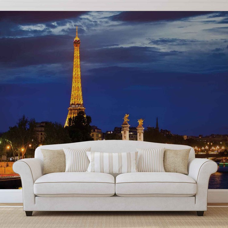 The eiffel tower wall paper mural buy at europosters for Eiffel tower mural wallpaper