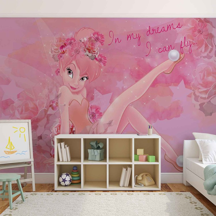 Disney fairies tinker bell wall paper mural buy at for Disney fairies wall mural