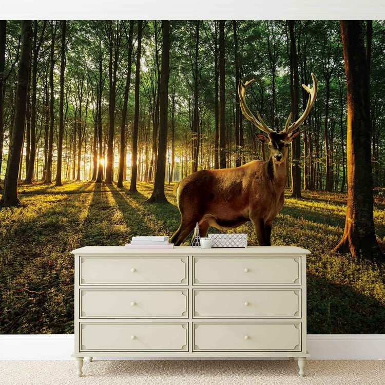Deer forest trees nature wall paper mural buy at europosters for Deer landscape wall mural