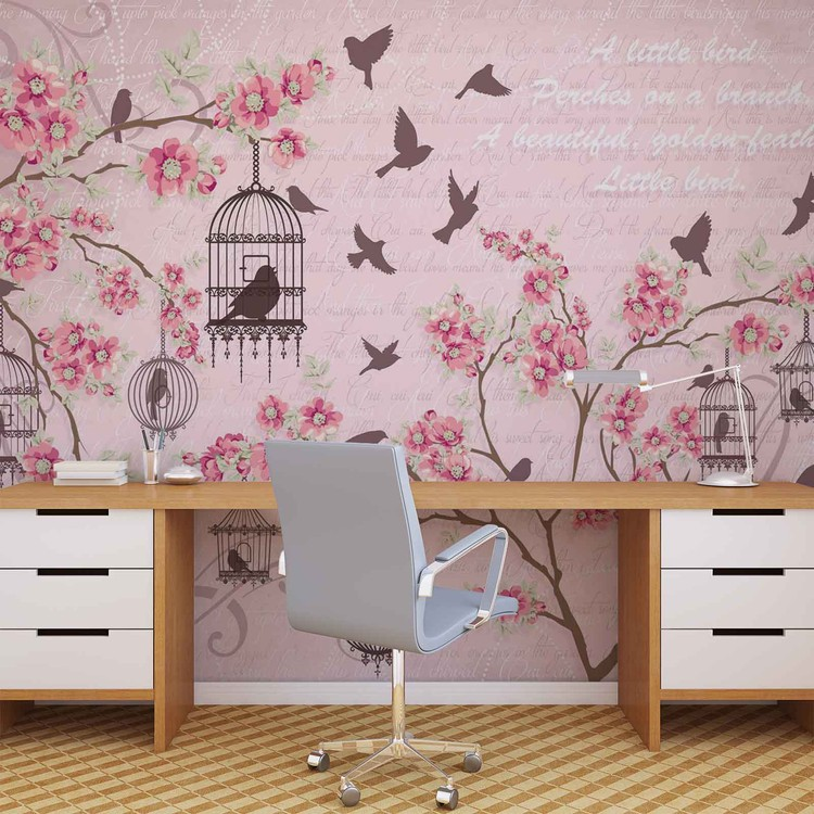 Birds cherry blossom pink wall paper mural buy at for Cherry blossom wallpaper mural