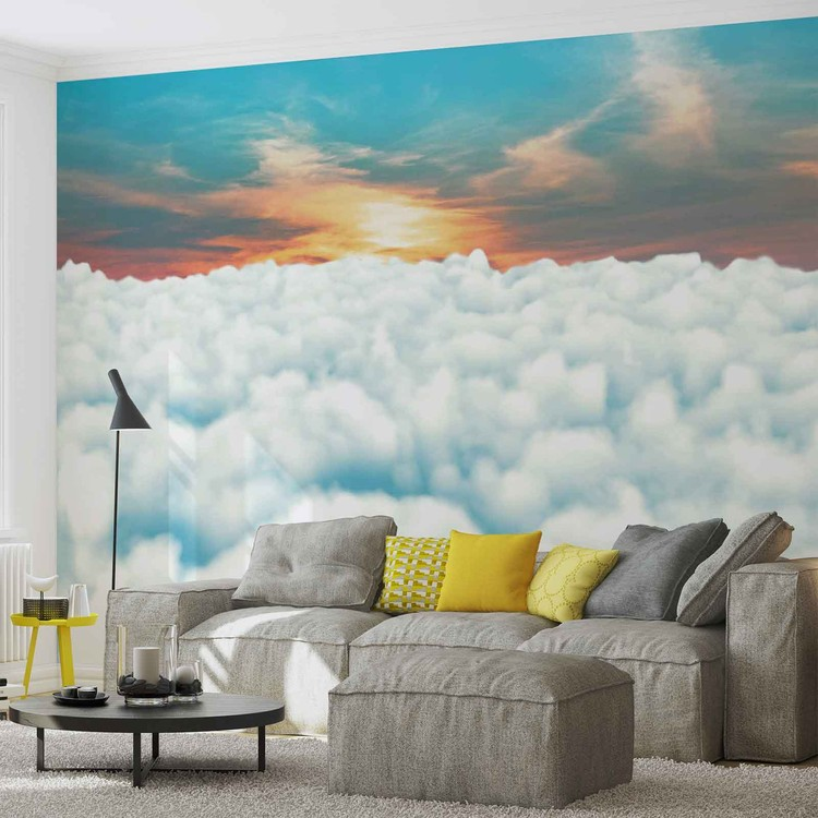 Sky clouds sunset wall paper mural buy at europosters for Clouds wall mural