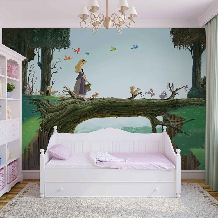 Disney princesses sleeping beauty wall paper mural buy for Disney princess wallpaper mural uk