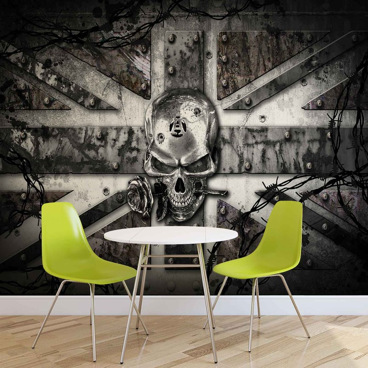 Alchemy Skull Union Jack Tattoo Wallpaper Mural. Facebook Google Pinterest.  Original Price: Part 92