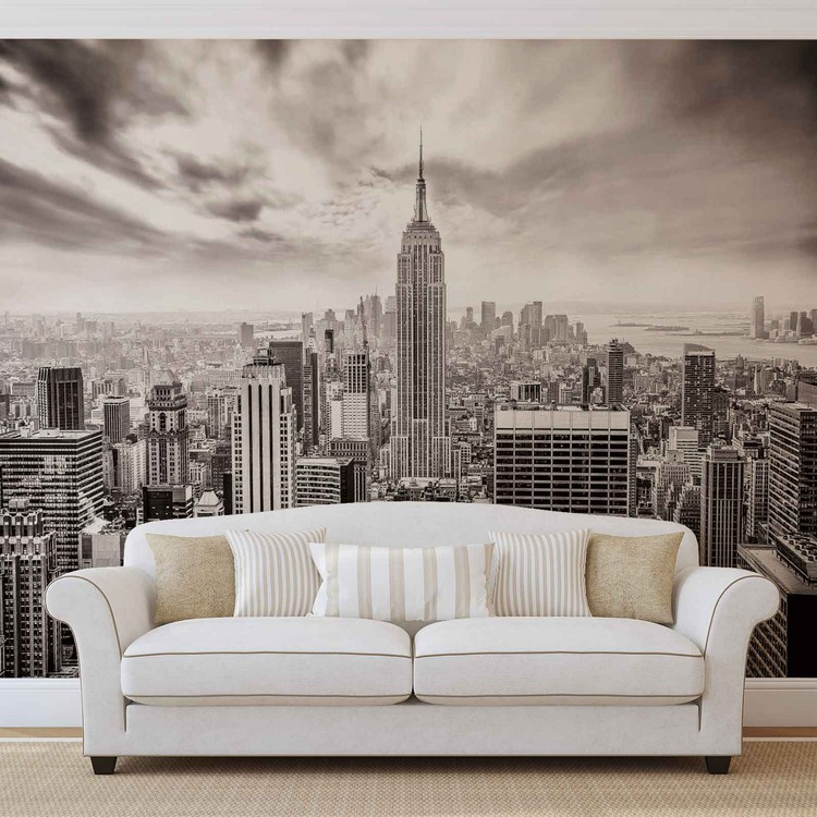 City skyline empire state new york wall paper mural buy for Poster mural geant new york