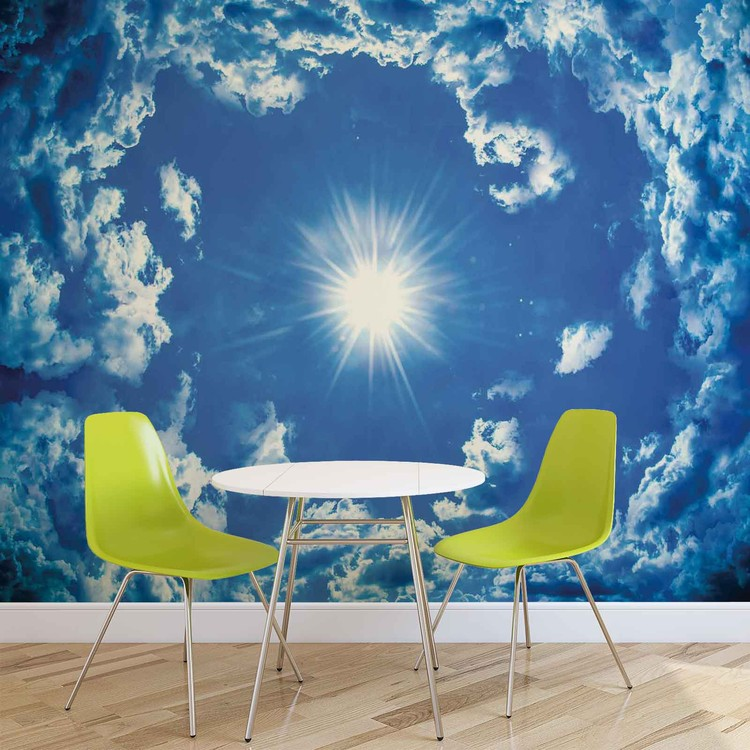 Sky clouds sun nature wall paper mural buy at europosters for Clouds wall mural