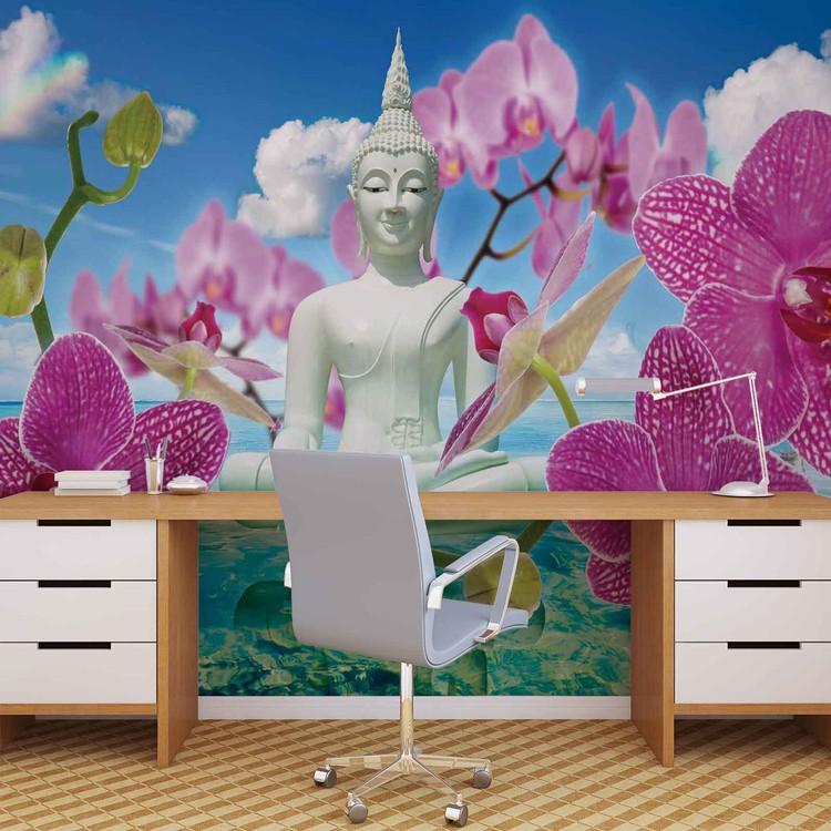 Zen flowers orchids buddha water sky wall paper mural for Poster mural zen