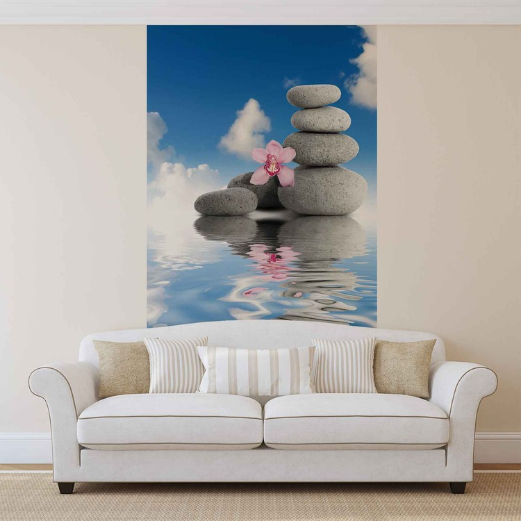 Zen water stones orchid sky wall paper mural buy at for Poster mural geant zen