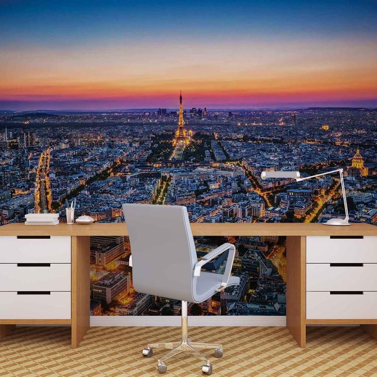 City paris sunset eiffel tower wall paper mural buy at for Eiffel tower mural wallpaper